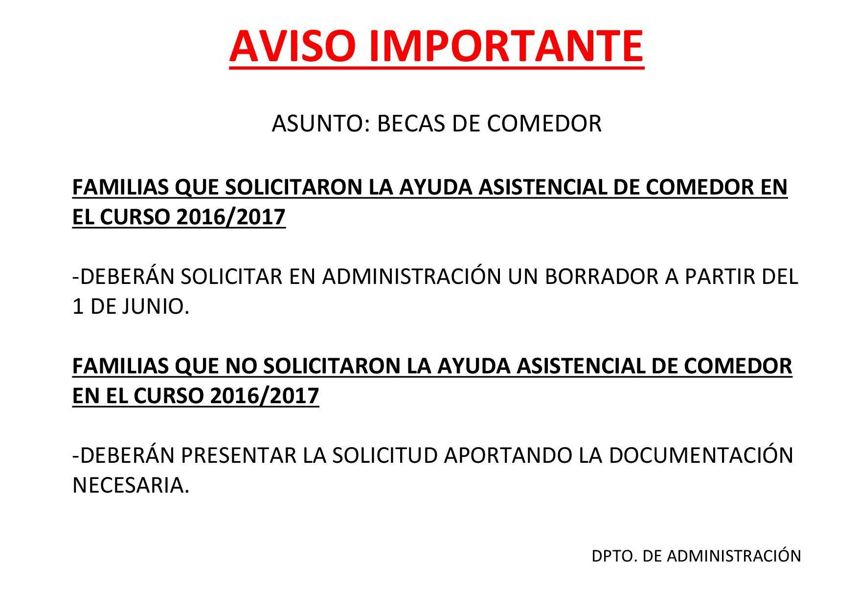 AYUDAS ASISTENCIALES DE COMEDOR CURSO 2017/2018 | Colegio El Ave ...