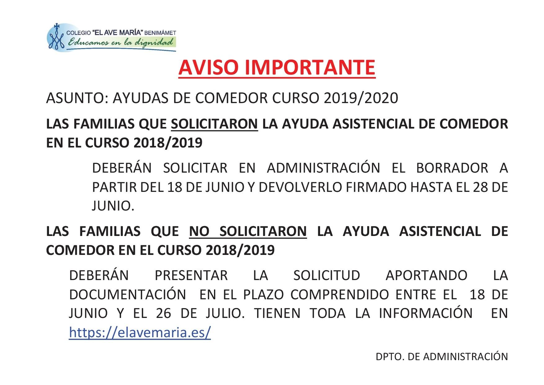 Ayudas de comedor curso 2019-2020 | Colegio El Ave María - Benimámet ...
