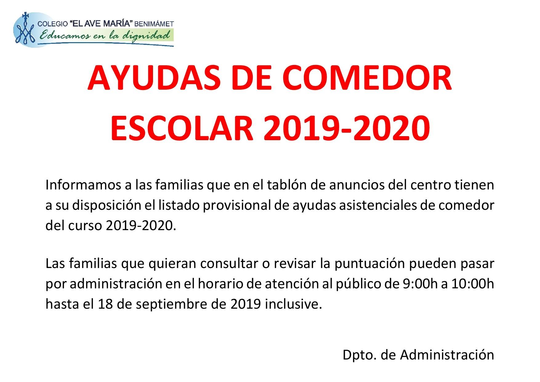 Ayudas de comedor curso 2019-2020   Colegio El Ave María ...