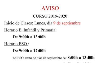 Inicio clases curso 2019-2020