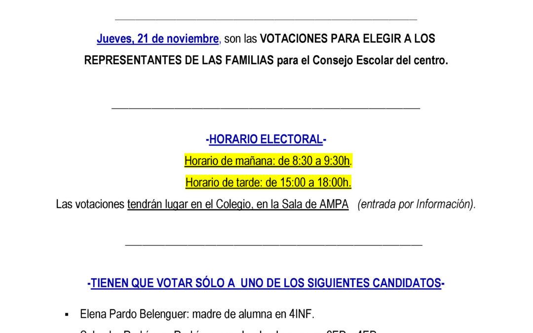 Recordatorio votación elecciones Consejo Escolar