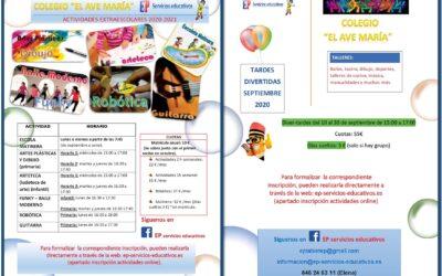 EP Servicios Educativos. Actividades extraescolares para el curso 2020-2021.