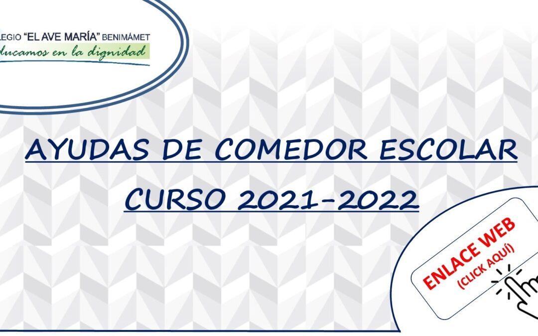 Instrucciones ayudas de comedor escolar curso 2021-2022