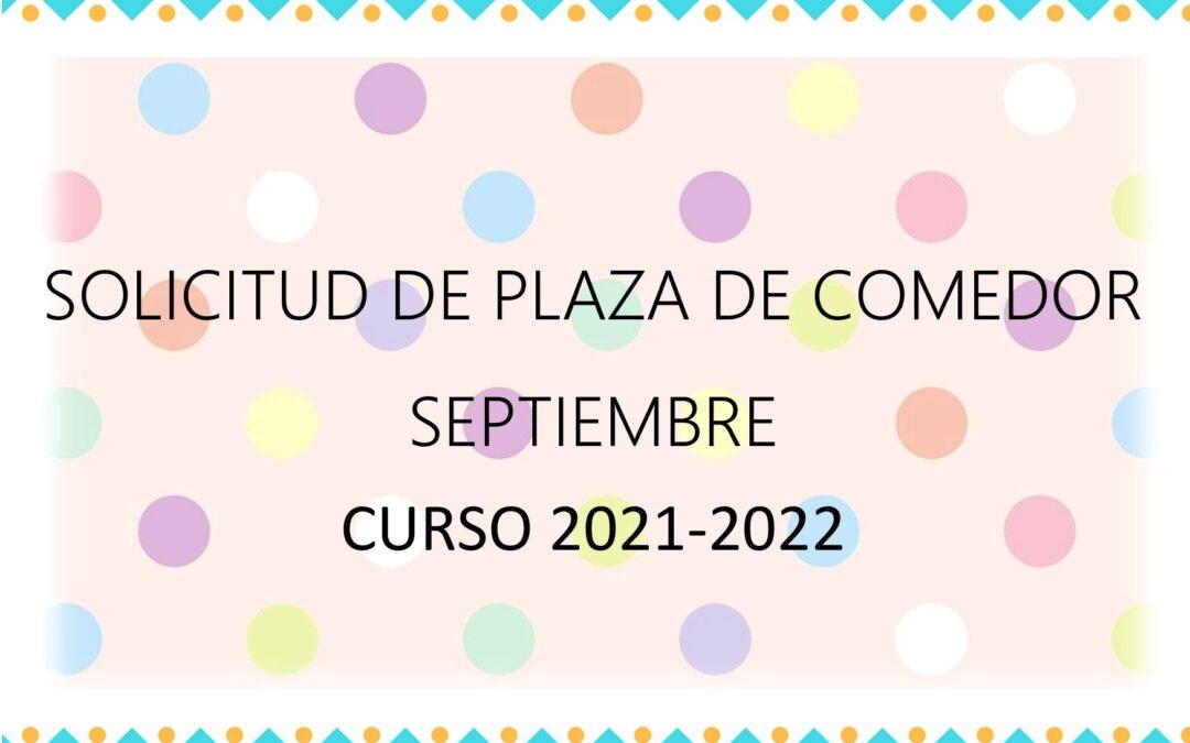 Solicitud plaza de comedor septiembre 2021
